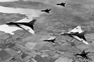 Avro 698 Vulcan VX777 and VX770 with 4 x Avro 707's enroute to Farnbor...