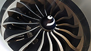 The new and improved huge General Electric GE9X engine of the Boeing 7...