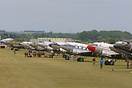 A line of DC-3's at Duxford for the D-Day 75th anniversary event.