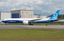 Boeing's first all composite 777-9X doing her first taxi test before h...