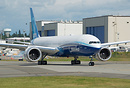 Boeing's first all composite 777-9X turning on active runway 16R to pe...