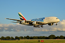One of three Emirates A380's painted in special markings to advertise ...