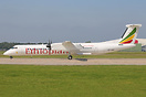New Ethiopian Dash-8-400 ET-AXF departing Manchester to Rome FCO on th...