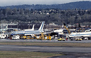 Overview of the Boeing plant at Renton, Washington. Eastern Boeing 757...