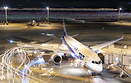 An ANA 787-8 on turn around at Tokyo's Haneda airport caught in a 80 m...