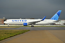 United Airlines latest colourscheme on this 767 as it waits for take o...