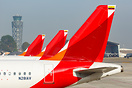 Tails of Avianca airplanes at Bogota airport