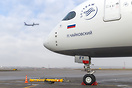 Nose shot of Aeroflot's first Airbus A350-900 VQ-BFY on apron while an...