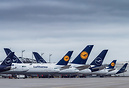 a part of Lufthansa fleet grounded on the apron in Munich. A380s, A340...