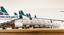 Aircraft parked on runway 8/26 in Calgary, Alberta, Canada after a mas...