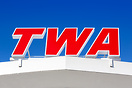 TWA logo on the roof of the TWA Hotel