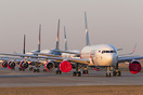 A bunch of Azur Air planes parked at Vnukovo airport because of COVID-...