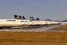 Stored Lufthansa aircraft at Frankfurt Airport due to Coronavirus