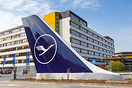 Lufthansa airplane tail at the airline's headquarters at Frankfurt air...