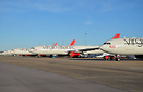 Virgin Atlantic aircraft currently in temporary storage at Heathrow du...