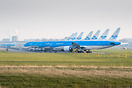 Seven KLM Boeing 777's and some KLM Boeing 737's stored at the runway ...