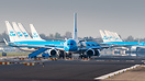 Six KLM Boeing 737's and seven B777's stored at the runway due to the ...