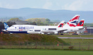 Two Swiss Airbus A319 aircraft and British Airways Boeing 747 G-CIVM w...
