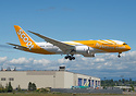Scoot's latest 787-8 dreamliner on her first flight- nose has the word...