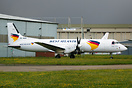 West Atlantic ATP SE-MHK sits outside the airline's hangar at East Mid...