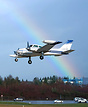Landing just after rain with a beautiful rainbow in background