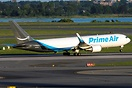 Amazon Prime Air Operated by ATI departing JFK on Runway 22R. Amazon h...