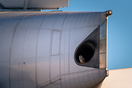 Unusual scene of a falcon nesting in a Boeing's APU during airport clo...