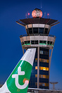 In the very early morning, combination of Paris-Orly ATC Tower, tail o...