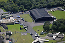 An aerial view of Yorkshire Air Museum At Elvington Airfield.