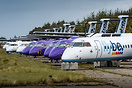 A number of stored FlyBe Bombardier Dash 8-400's at Maastricht Airport...