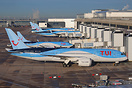 A line of TUI aircraft parked on Terminal 2 at Manchester.