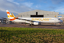 First aircraft to wear the new company livery of Sunclass Airlines cau...