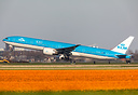 A KLM boeing 777-300ER leaving Dutch soil as she is being watched by m...