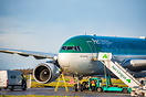 Aer Lingus A330-200 EI-DUO is met by engineering staff following a pos...