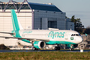 Flynas A320 vacating the runway after arriving from Madrid where it wa...