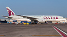 Qatar Cargo's Boeing 777 freighter taxiing at Mumbai after her arrival...