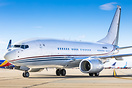 Boeing's own BBJ arriving into VCV for new paint after being damaged i...