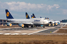 Line-up of Lufthansa's stored Boeing 747-8 aircraft at Frankfurt Airpo...
