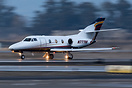 A Dassault Falcon 10 departs Livermore Municipal Airport early in the ...