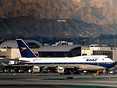 BOAC retro taxiing out under the Hollywood sign