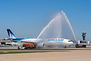 Brand new Corsair International A330 Neo receiving a water salute from...