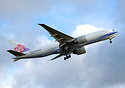 China Airlines Cargo's very first 777F cargo aircraft rotating and cli...
