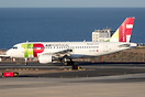 This TAP Air Portugal A319 leaves for Lisbon quite early on its flight...
