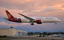 Juneyao airlines' latest 787 landing in golden hour around sunset