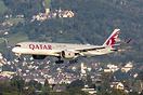 Qatar Airways Airbus A350 on short final with Regensberg Castle in the...