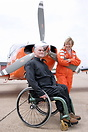 Polly Vacher and her first passenger Mark Salter, a paraplegic and pas...