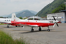 On the flight test apron at the Pilatus factory is newly built PC7 for...