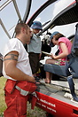 Hereford and Worcester Air Ambulance crew members show some local chil...