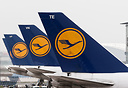 Line up of Lufthansa tails at their homebase in Frankfurt