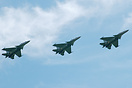 A flight of SU30s arrives for an exercise.